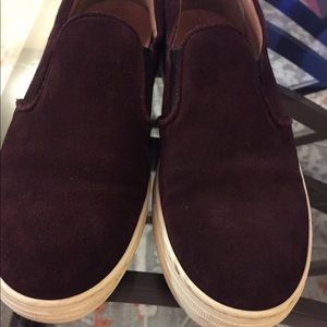 Suede leather sneakers burgundy 9.5